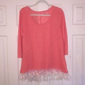 Coral w/ Lace Trim Top XL, Arizona Jeans Co.